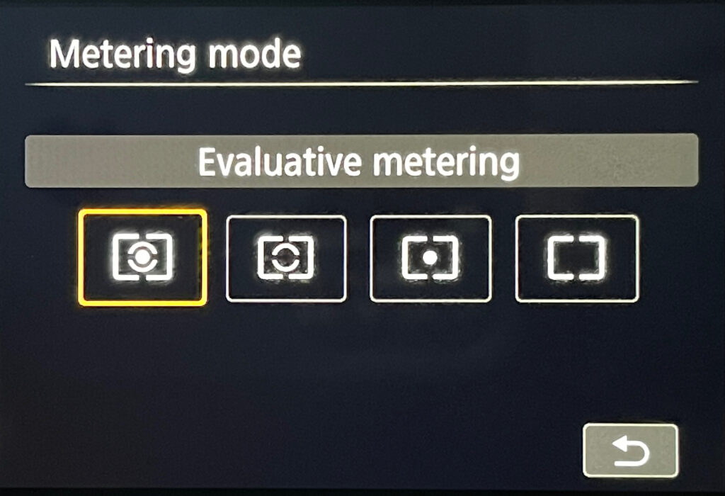 Image of Canon 80D camera settings menu where photographers select metering modes.