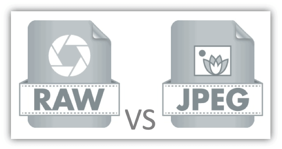 Graphic depicting RAW vs JPEG camera settings