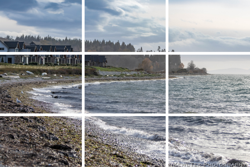 Image of a beach landscape scene with the rule of thirds gridlines drawn onto the photo.